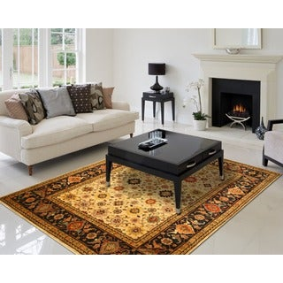 Hand-knotted EORC Super Mahal Ivory Wool Rug (12' x 15')