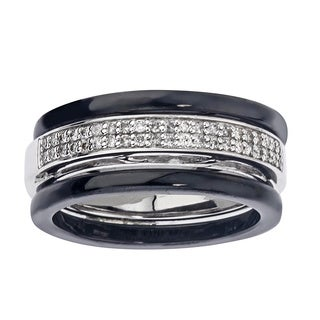 Black Ceramic 1/5ct TDW Diamond Band (H-I, I2-I3)