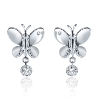 10k White Gold 1/3ct TDW Floating Diamond Butterfly Earrings (H-I, I1-I2)