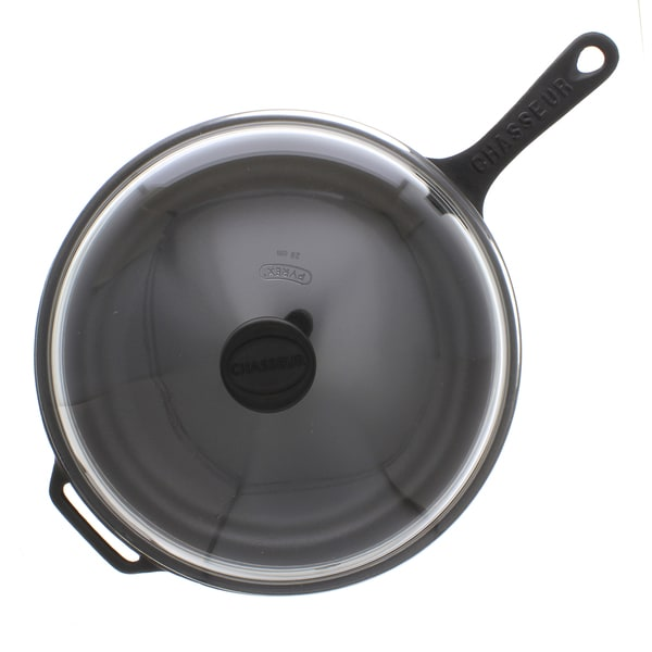 Chasseur 2.5-quart Black Cast Iron Fry Pan with Lid