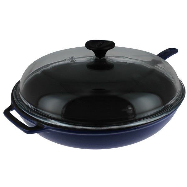 Chasseur 2.5-quart Blue Cast Iron Fry Pan with Lid