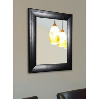 American Made Rayne Luxurious Black Leather Wall Mirror