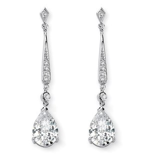 PalmBeach 8.39 TCW Pear Cut Cubic Zirconia Silvertone Drop Earrings Glam CZ
