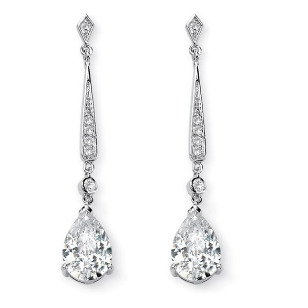 PalmBeach CZ Cubic Zirconia Dangle Drop Earrings Glam CZ