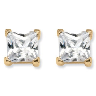 PalmBeach 18k Yellow Goldplated Silver Cubic Zirconia Princess-cut Earrings Classic CZ