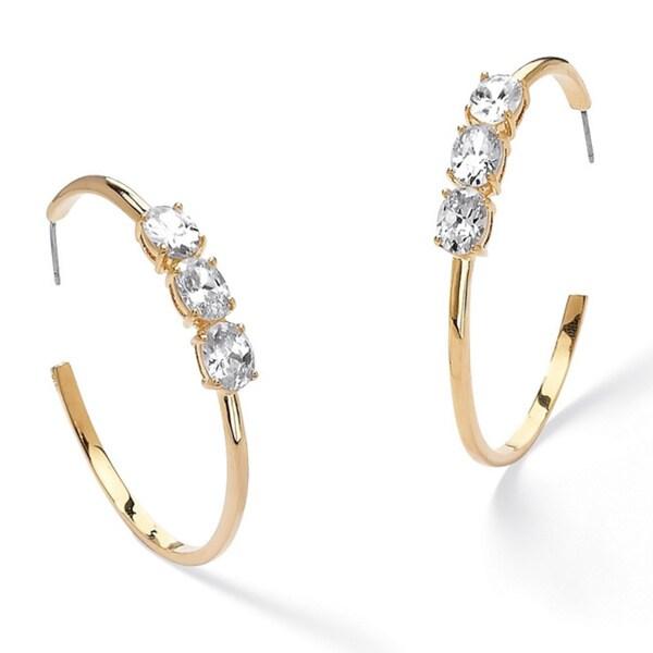 PalmBeach Gold Overlay Cubic Zirconia Open Hoop Earrings Classic CZ