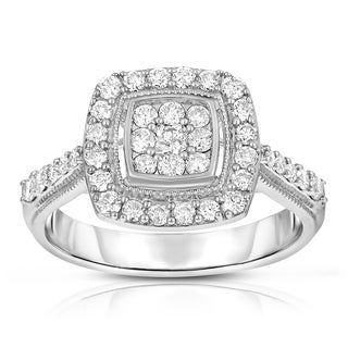 10k White Gold 3/4ct TDW Diamond Halo Ring (H-I, I1-I2)