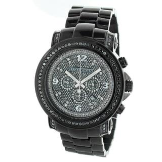 Luxurman Oversized Men's Chronograph Black Diamond Watch