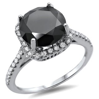 18k White Gold 2 1/4ct TDW Round Black/ White Diamond Engagement Ring (F-G, SI1-SI2)