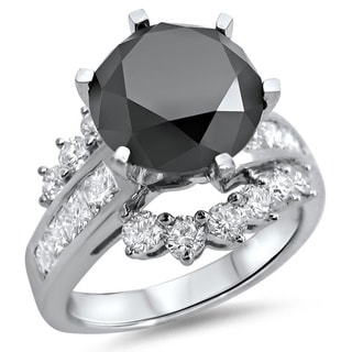 14k White Gold 4 1/2ct TDW Black Diamond Engagement Ring (VS1-VS2)