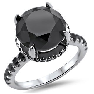 18k White Gold 3 3/5ct TDW Round Black Diamond Halo Engagement Ring (SI1-SI2)