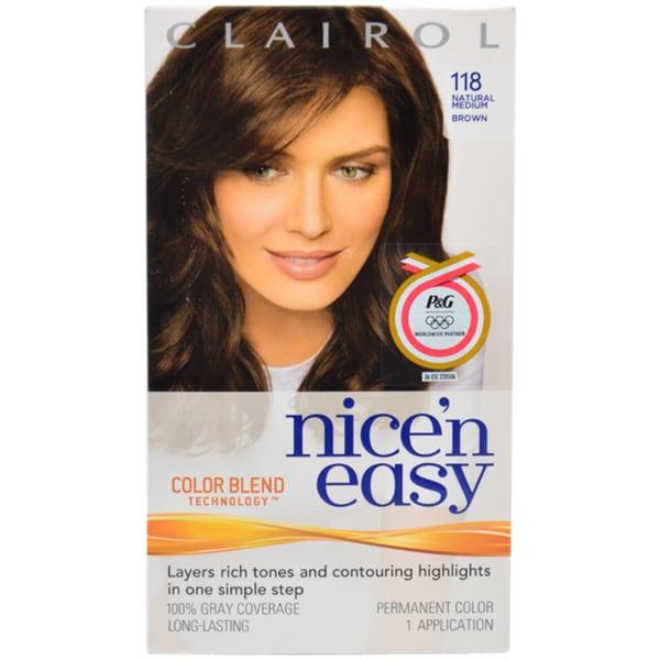 Clairol Nice 'n Easy Permanent Color 118 Natural Medium Brown Hair Color