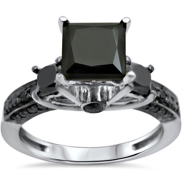 Noori 14k White Gold 2 1/10ct TDW Princess Cut 3-stone Diamond Engagement Ring