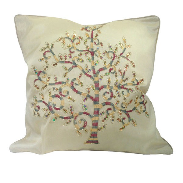 Handmade Embroidered Bodhi Tree Asian Cushion/Throw Pillow Cover