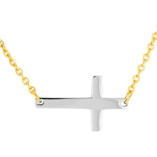 ELYA Two-tone Goldplated Stainless Steel Sideways Cross Necklace