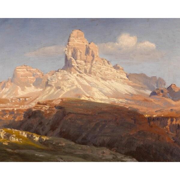 Anton Hlavacek 'Three Peaks vom Monte Rosa, Ampezzo ' Oil on Canvas Art