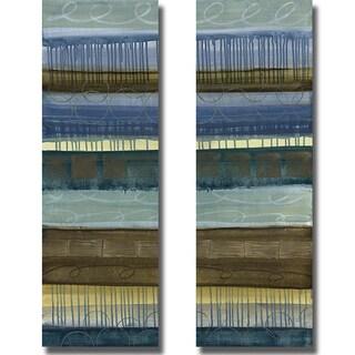 Jeni Lee 'Blue Mood Panel I and II' 2-piece Canvas Set