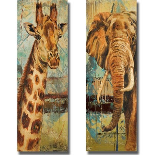 Patricia Pinto 'New Safari on Teal I and II' 2-piece Canvas Set