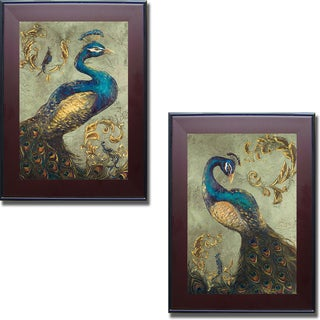 Tiffany Hakimpour 'Peacock on Sage I and II' Framed 2-piece Canvas Set