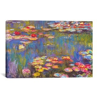 iCanvas Water Lilies by Claude Monet Canvas Print Wall Art