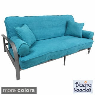 Blazing Needles Full Size 9-inch Futon Set with Microsuede Cover and Pillows and Valencia Frame
