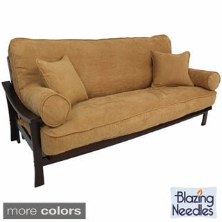 Blazing Needles Full Size 9-inch Futon Set with Microsuede Cover and Pillows and Barcelona Frame