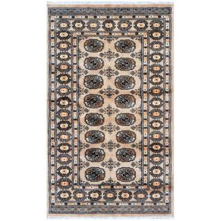 Pakistani Hand-knotted Bokhara Beige/ Ivory Wool Rug (3'1 x 5'1)