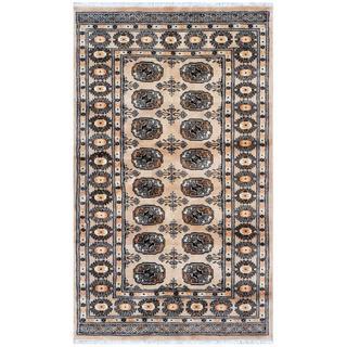 Pakistani Hand-knotted Bokhara Beige/ Ivory Wool Rug (3'1 x 5'1)