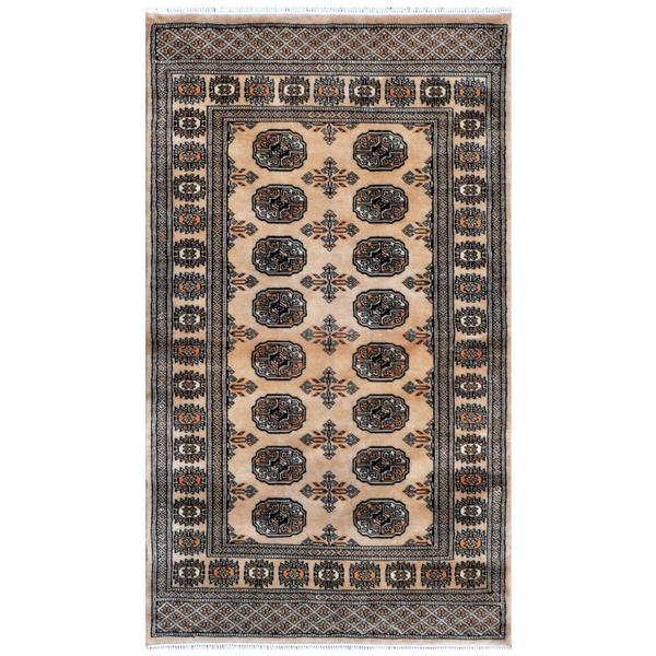 Pakistani Hand-knotted Bokhara Beige/ Ivory Wool Rug (3'1 x 5'3)