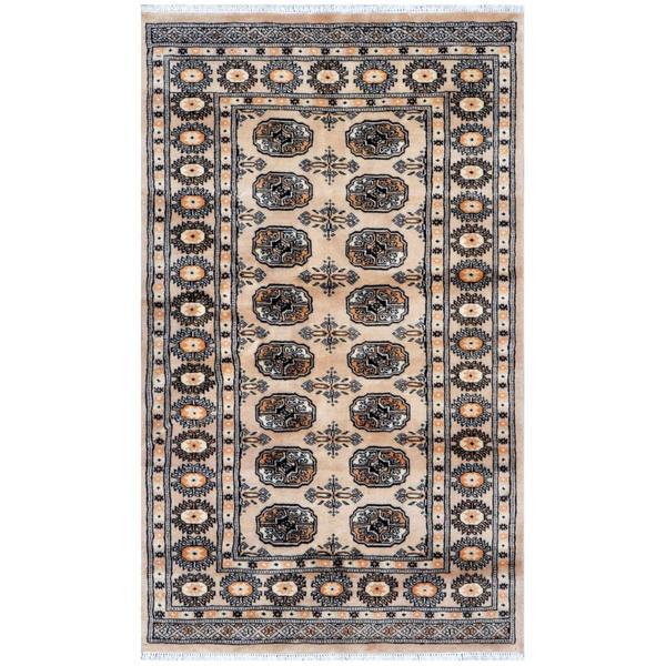 Pakistani Hand-knotted Bokhara Beige/ Ivory Wool Rug (3'1 x 4'10)