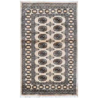 Pakistani Hand-knotted Bokhara Beige/ Ivory Wool Rug (3'2 x 5'2)