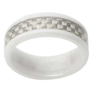 Vance Co. Men's Ceramic Black Diamond Accent Carbon Fiber Band (8 mm)