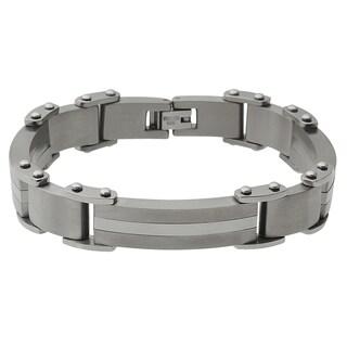 Vance Co. Men's Titanium Matte Finish Link Bracelet