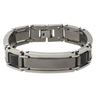 Vance Co. Men's Titanium Carbon Fiber Link Bracelet