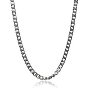 Vance Co. Men's Titanium 24-inch Curb Chain Necklace