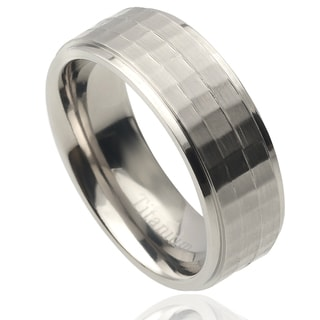Vance Co. Men's Titanium Square Patterned Band