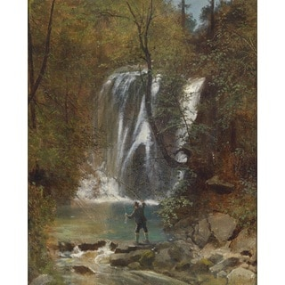 Melchior Fritsch 'The Angler - Fishing by the Waterfall' Oil on Canvas Art