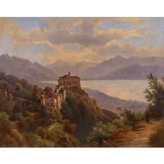 Zsigmond Bubics 'Monastery by Lake Maggiore' Oil on Canvas Art