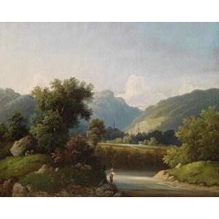 Theodor Freiherr von Ehrmanns 'Angler By A Stream' Oil on Canvas Art