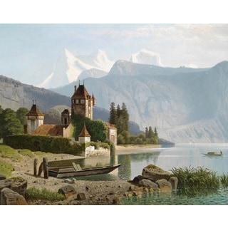 Wilhelm Theodor Nocken 'The Athenaeum - View of Castle Oberhofen' Oil on Canvas Art