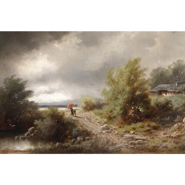 Albert Rieger 'The Gathering Storm' Oil on Canvas Art