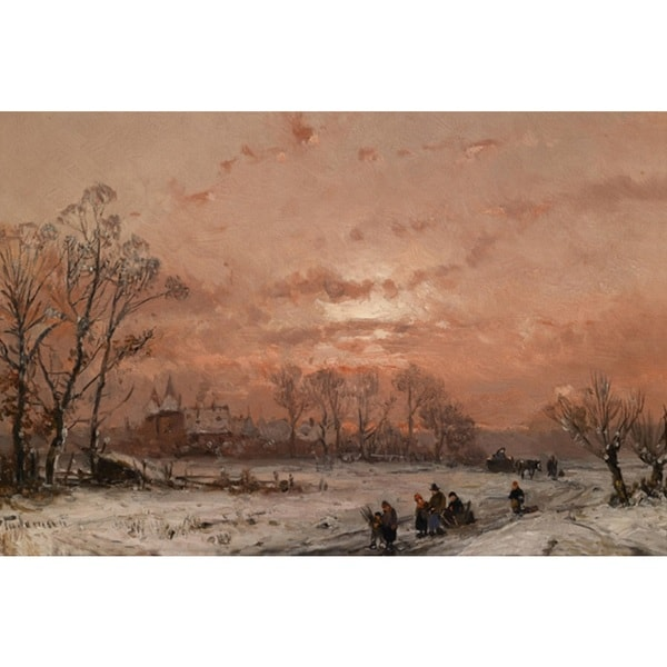 Adolf Stademann 'Winter Landscape in the Sunset' Oil on Canvas Art