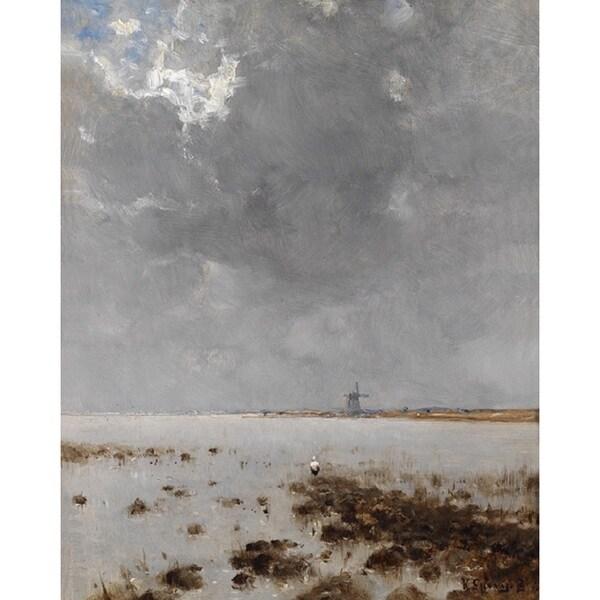 Bela von Spanyi 'Sea Landscape with Mill in Background' Oil on Canvas Art