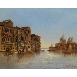 Karl Kaufmann 'Scene from Venice with View of Santa Maria Della Salute' Oil on Canvas Art