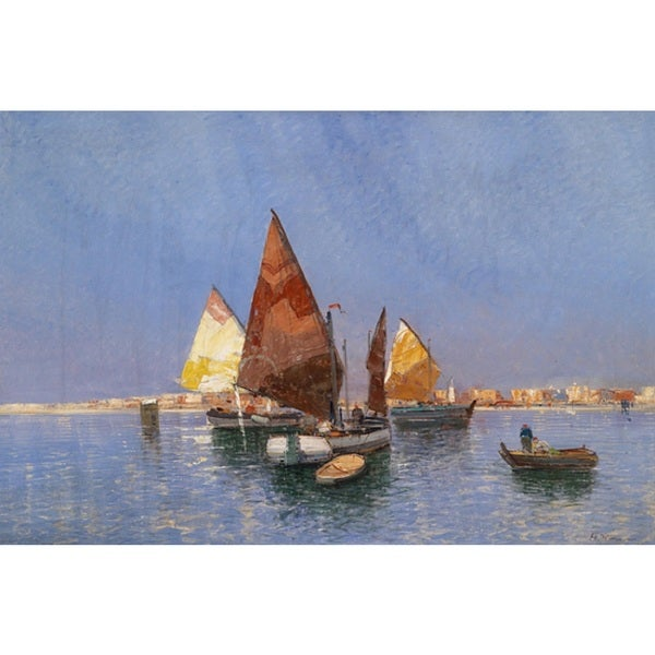 Sail Boats' Oil on Canvas Art