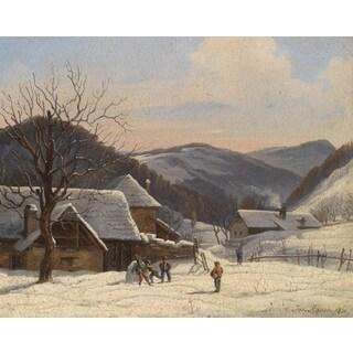 Johann Josef Rauch 'Winter Village' Oil on Canvas Art