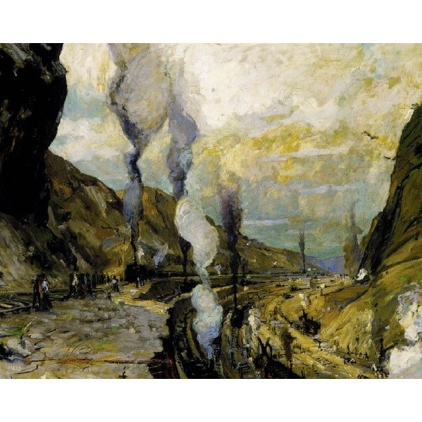 Jonas Lie 'Culebra Cut' Oil on Canvas Art
