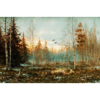 Muraviov Vladimir Leodinovich 'Forest at Dawn' Oil on Canvas Art