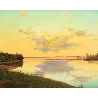 Ivan Fedorovich Choults� 'Sunset Over the Lake ' Oil on Canvas Art