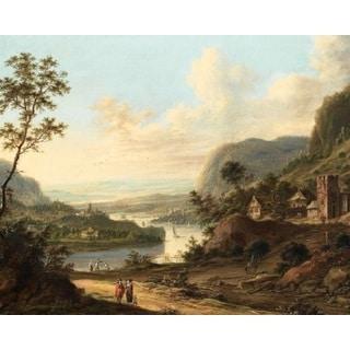 Johann Christian Vollerdt 'River Landscape' Oil on Canvas Art